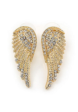 Gold Plated Clear Crystal Wing Earrings - 40mm L