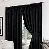 """Dreamscene Pair Basket Weave Pencil Pleat Curtains, Black - 66"""" x 72"""" (168x183cm)"""