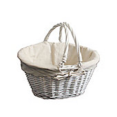 Oval Willow Wicker Shopping Basket with White Lining