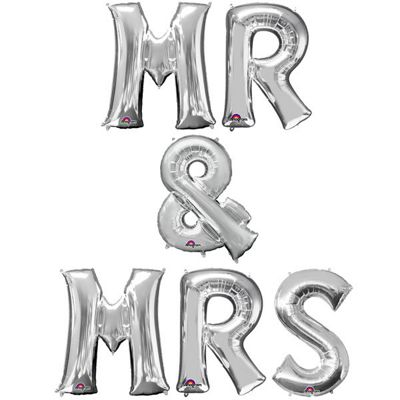 Mr & Mrs' Siliver Balloon Kit - 16 inch