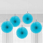 Solid Colour Decorations Blue Hanging Fan Decorations - 5 pack