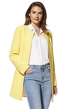F&F Crepe Frill Pocket Collarless Coat - Yellow