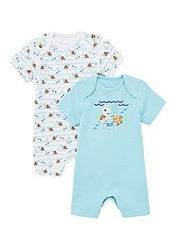 Disney 2 Pack of Finding Nemo Rompers - Blue & White