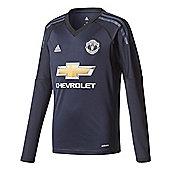 adidas Manchester United 2017/18 Kids Home Goalkeeper Shirt Blue - Blue