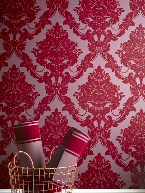 Sophie Conran Palais Damask Flock Wallpaper Scarlet 980607