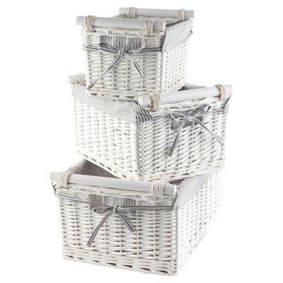 Tesco Wicker Baskets with Wooden Handles  Grey Stripe Fabric Lined  White. Buy Tesco Wicker Baskets with Wooden Handles  Grey Stripe Fabric