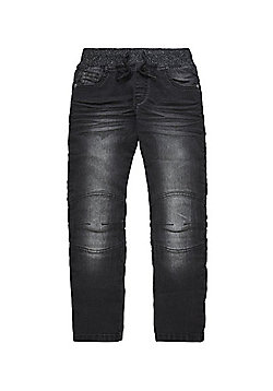 F&F Rib Waist Jeans - Washed black
