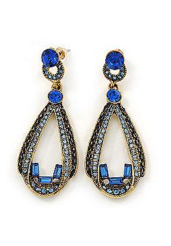 Royal/ Sky Blue Crystal Loop Drop Earrings In Gold Tone - 60mm L