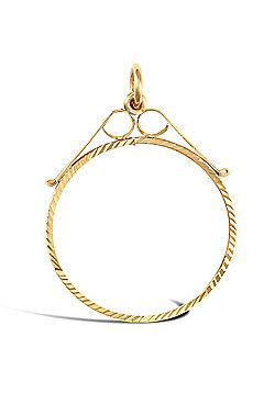 9ct Gold Diamond Cut Scroll Top Lightweight Half Sovereign Coin Mount Pendant