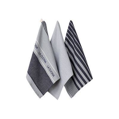 Ladelle Set of 3 La Cucina Grey Tea Towels