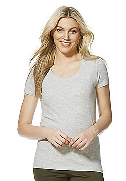 F&F Scoop Neck T-Shirt with As New Technology - Grey