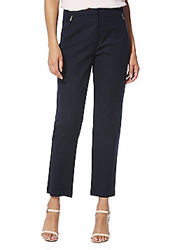 F&F Zip Detail Ankle Grazer Mid Rise Slim Leg Trousers - Navy