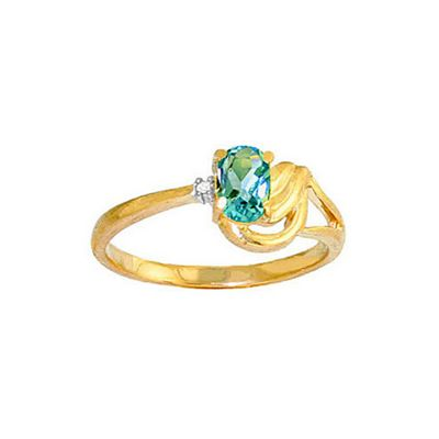 QP Jewellers Diamond & Blue Topaz Angel Ring in 14K Gold - Size R