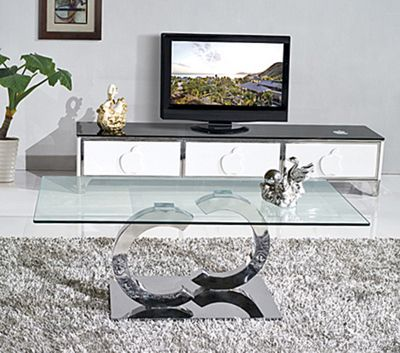 Channel Designer Glass and Stainless Steel Coffee Table
