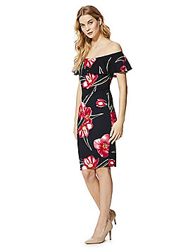 AX Paris Orchid Print Bardot Bodycon Dress - Black Multi