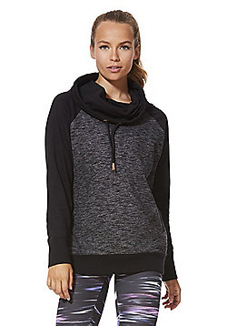 F&F Active Marl Panel Funnel Neck Sweatshirt - Grey