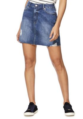 F&F Ripped Raw Hem Mid Rise Denim Skirt Mid Wash 16