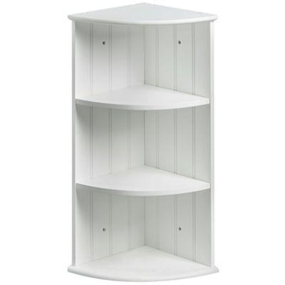 VonHaus Colonial White Three Shelf Corner Unit