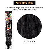 "22"" Crochet Togo Afro Twist Braid Kanekalon Fibre Hair 12 Strings-#1 Jet Black"