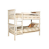 Comfy Living 3ft Single Children's Shaker Bunk Bed in White with 2 Basic Budget Mattresses - Single (3'0)