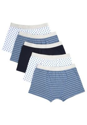 F&F 5 Pack of Star and Striped Trunks with As New Technology Multi 3-4 years