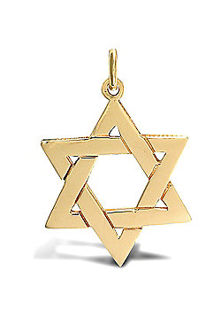 Jewelco London 9ct Solid Gold heavy weight Star of David Pendant with barked reverse