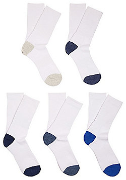 F&F 5 Pair Pack of Fresh Feel Sports Socks - White
