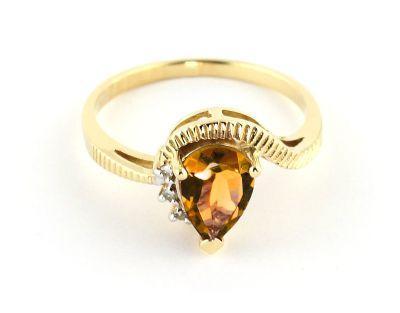 QP Jewellers Diamond & Citrine Belle Diamond Ring in 14K Gold - Size U