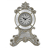 Antique Silver and White Luxe Table Clock