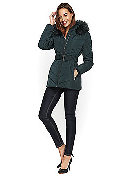 Wallis Padded Belted Coat - Dark green