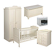 Tutti Bambini Alexia 5 Piece Nursery Room Set - Sprung Mattress and Toy Box