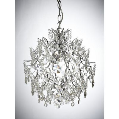 3 light clear crystal ball shaped chandelier with a chrome finish