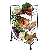 Basket - Wheeled 3 Tier Kitchen Storage Trolley - Silver