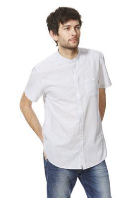F&F Linen-Blend Short Sleeve Grandad Shirt Grey 3XL
