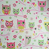 Owls Wallpaper - Pink - 6327
