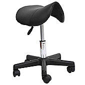 Homcom Massage Beauty Therapy Gas Stool Height Adjustable Saddle Salon Massage Spa Chair Stool Manicure Tattoo Swivel tools Chair Black BY HOMCOM