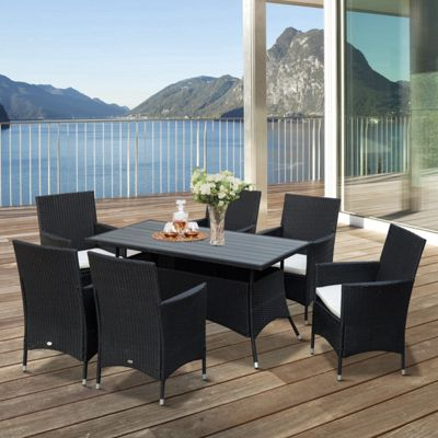 Outsunny 7PC Rattan Dining Set 6 Seater Wicker Conservatory Patio Furniture - Black