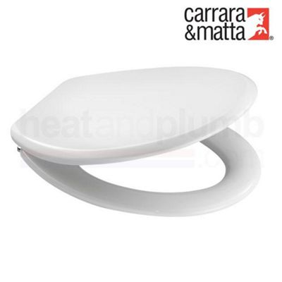 Carrara Matta ASTI White Moulded Wood Toilet Seat and Cover with Adjustable Chrome Plated Brass Hinges