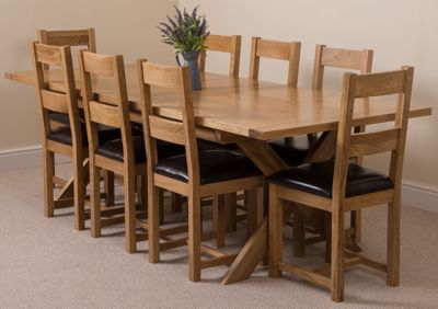 Vermont Solid Oak Extending 200 - 240 cm Dining Table with 8 Lincoln Oak & Leather Chairs