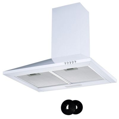 Cookology CH600WH White Extractor Fan | 60cm Kitchen Chimney Cooker Hood & Recirculating Carbon Filters