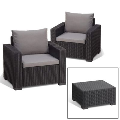 Allibert California Lounge Set (Seats 2) - Graphite