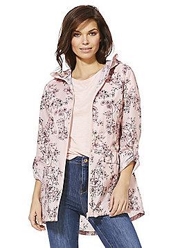 F&F Shower Resistant Floral Print Hooded Mac - Pink & Multi