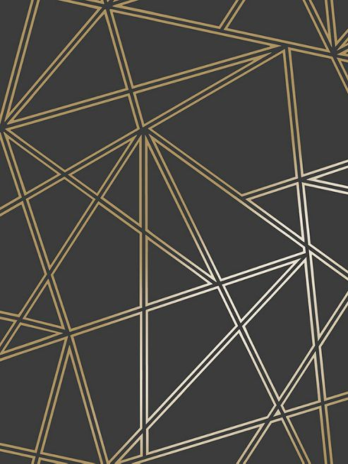 Paladium Geometric Wallpaper Black and Gold Holden 90114