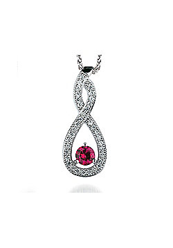 REAL Effect Rhodium Plated Sterling Silver Red Cubic Zirconia TearDrop Twist Charm Pendant - 16/18 inch