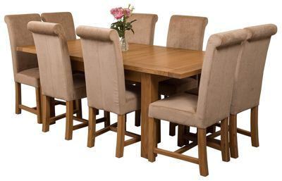 Seattle Extending Kitchen Solid Oak Dining Set Table & 8 Beige Fabric Chairs