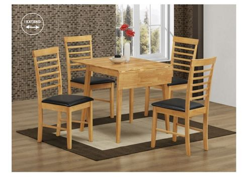 Elements Athens 5 Piece Oak Square Drop Leaf Dining Collection