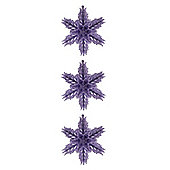 Pack of 3 Lilac 3D Glitter Snowflake Hanging Ornaments