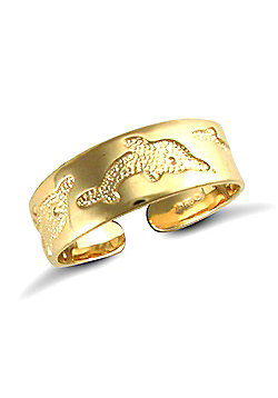 Jewelco London 9ct Solid Gold flat Toe Ring with carved dolphin
