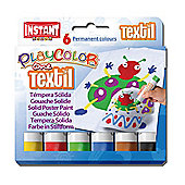 Playcolor Textil One 10g Solid Poster Paint Stick (Pack of 6 - Assorted Colours)