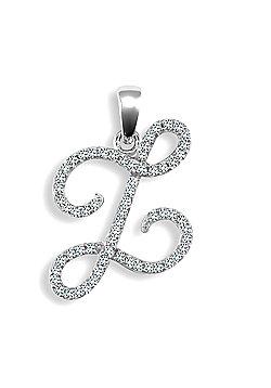 9ct White Gold Diamond Script Initial Identity Pendant - Letter Z